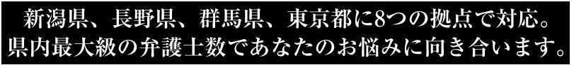 新潟県内に5つの拠点。県内最大級の弁護士数であなたのお悩みに向き合います。
